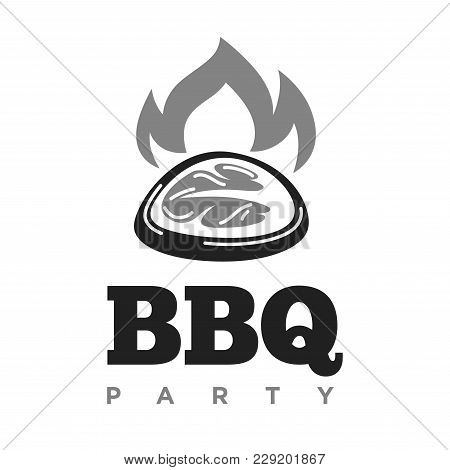 Barbecue Party Meat And Bbq Fire Logo Template For Picnic Shop Or Butchery And Fast Food. Vector Iso