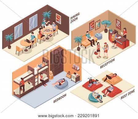 Hostel Rooms With Guests Isometric Set With Dining Hall, Reception, Bedroom, Rest Zone Isolated Vect