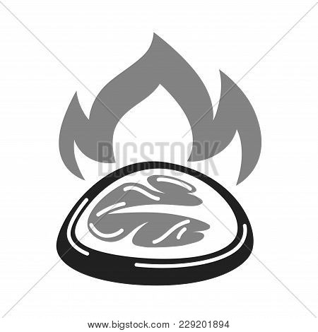 Barbecue Party Meat Steak And Bbq Fire Logo Template For Picnic Brunch Or Butchery Shop And Fast Foo