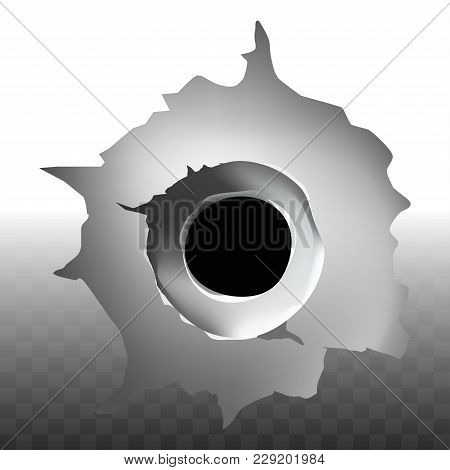 Bullet Shot Hole With Crack On Glass Or Metal Wall And Transparent Background. Vector Isolated Reali