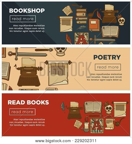 Bookshop Or Bookstore Web Banners Of Vintage Books And Poetry Stationery And Library Novels Or Ficti