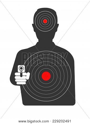 Targets On Dangerous Criminal Black Silhouette With Gun. Aim For Shooting Gallery And Special Milita
