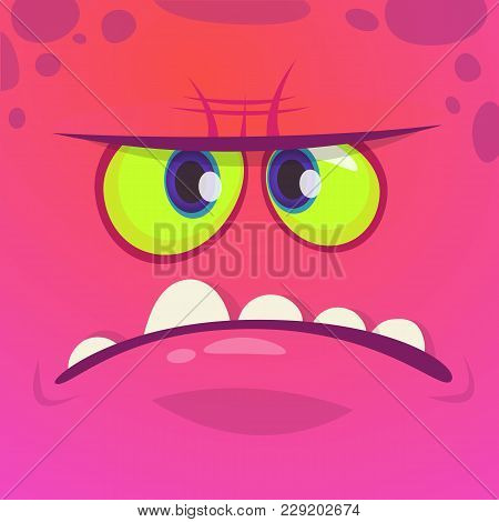 Angry Cartoon Monster Face. Vector Halloween Pink Monster Character