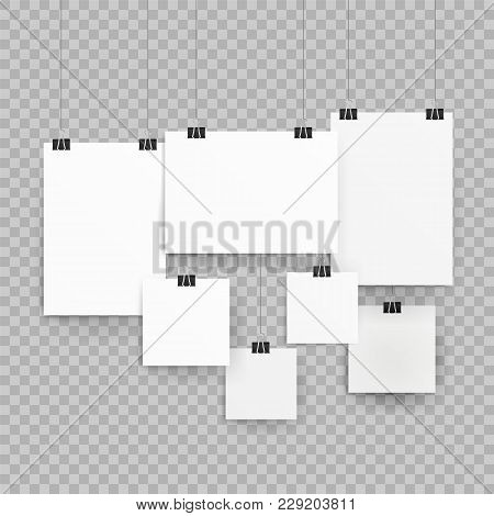 Frames Or Poster Templates Isolated On Transparent Background. Poster Template Of A Paper Sheet. Col