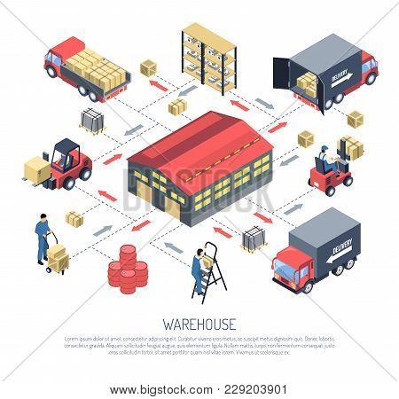 Ware House Isometric Composition On White Background With Building Outside, Storage Equipment, Goods