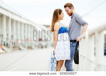 Cute Couple Enjoying Time Spent Together Outdoors