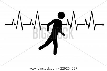 Running Man And Heartbeat Icon. Vector Illustration. Esp 10.