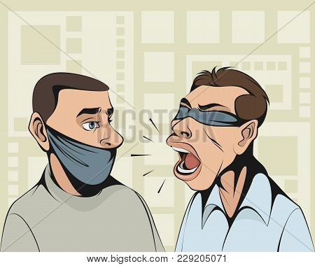Blindfolded Person Tries To Convince Man With Tied Mouth