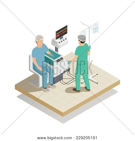 Organs repair and regeneration tissue engineering future medical technologies isometric composition with patient arm treatment vector illustration poster