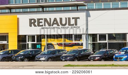 Zurich, Switzerland - 29 March, 2017: Partial View Of The Building Of The Renault Retail Group On Th