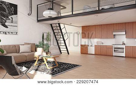 Modern kitchen loft interior. 3d rendering concept.