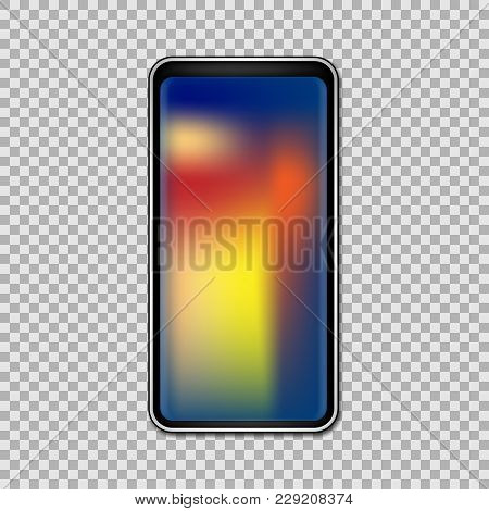 Smartphone With Full Gradient Touchscreen Isolated On Transparent Background. Vector Illustration. E