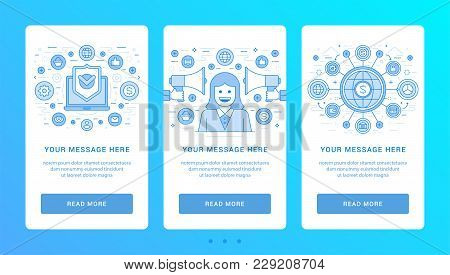 Vertical Banners Flat Thin Line Icons Vector Illustration. Set Symbols For Website Graphics And Prom