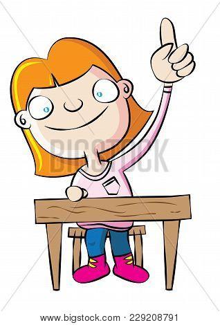 Cute White School Girl Raise Hand In Class Vector Illustration