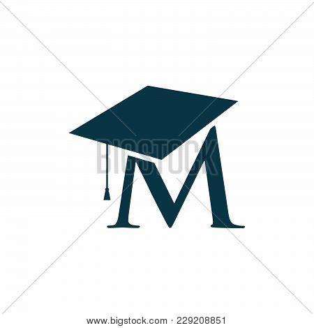 letter m education logo vector illustration template graduation cap with letter m under vector