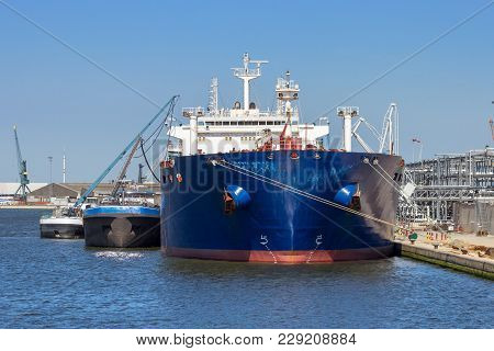 Oil Tanker Moored At An Oil Terminal In The Port Of Antwerp.