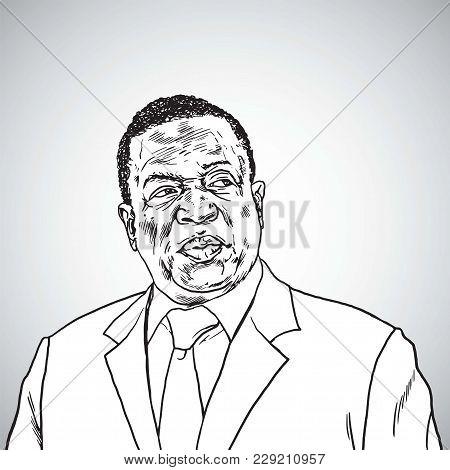 Emmerson Mnangagwa The President Of Zimbabwe. Vector Portrait Caricature Drawing Illustration. March