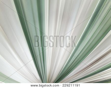 A Group Fabric Smooth Elegant Green And White For Cloths Texture And Background. Top View.