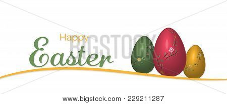 Happy Easter. Flower Pattern With Easter Eggs In Trendy Colors With Text : Happy Easter