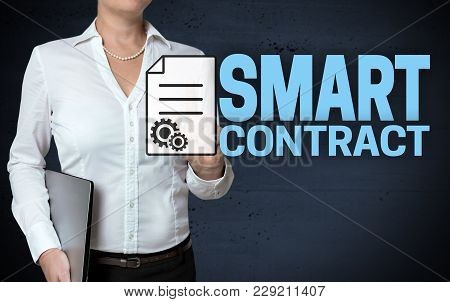 Smart Contract Touchscreen Is Shown By Businesswoman.