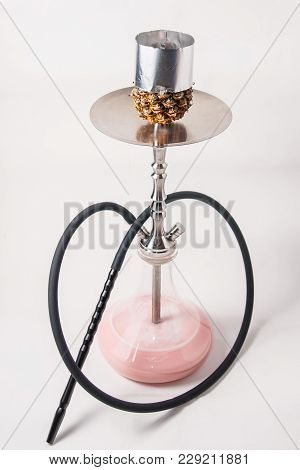 Large Pineapple Hookah With Milk And Ice Cream In A Flask On A White Background