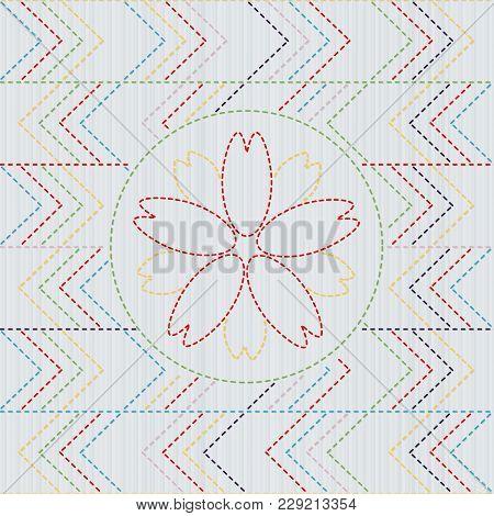 Sashiko. Abstract Seamless Pattern. Sakura Flower In The Frame. Quilting Motif For A Fancywork. Trad