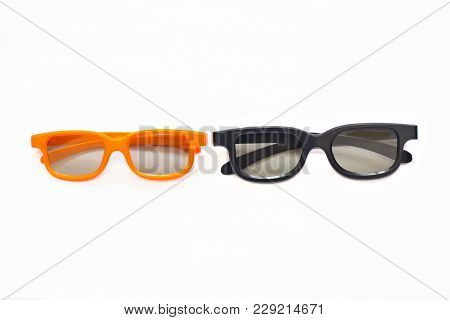 3d Glasses In Orange And Black Frames On A White Background
