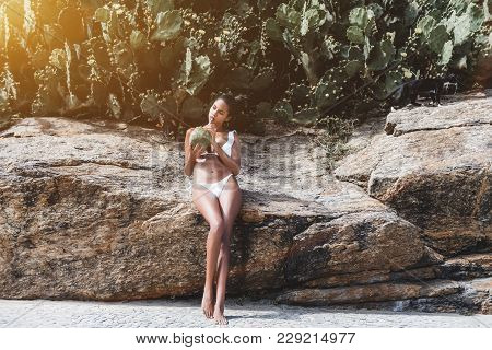 Charming Svelte Young Brazilian Female Citizen In Swimsuit Is Chilling On Summer Sunny Day With Coco