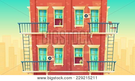 Vector Illustration Of Facade Residential Multi-storey Apartment, House Outside Concept, Private Bui