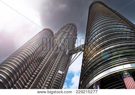 Kuala Lumpur, Malaysia - August 29th, 2010: The Petronas Twin Towers In Kuala Lumpur, Malaysia, In A