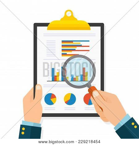 Cartoon Businessman Hands With Magnifier Analyzing A Folder Of Paper With Diagrams. Flat Style - Sto