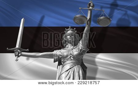 Cover About Law. Statue Of God Of Justice Themis With Flag Of Estonia Background. Original Statue Of