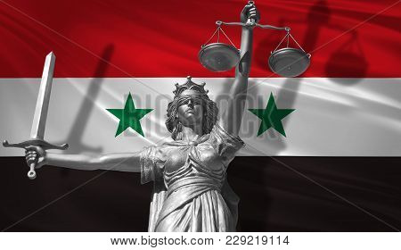 Cover About Law. Statue Of God Of Justice Themis With Flag Of Syria Background. Original Statue Of J