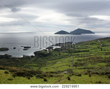 Green Landscape Along The Ring Of Kerry - Toned Effect. Gloomy Seascape In County Kerry - Vintage Ef