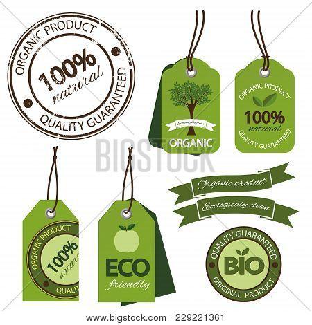 Organic Labels Big Set. Ecology Bio Farm Fresh Products Cardboard Tags Isolated.