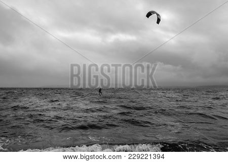 A View Of A Kiteboarder On The Puget Sound.