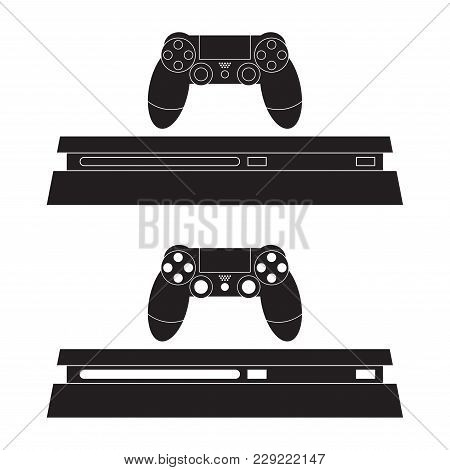 Game Console And Joystick Icon Vector Illustration. Game Console Flat Sign. Isolated On White Backgr