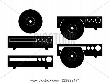 Cd, Dvd Player Icon Vector Illustration. Flat Sign Isolated On White Background.