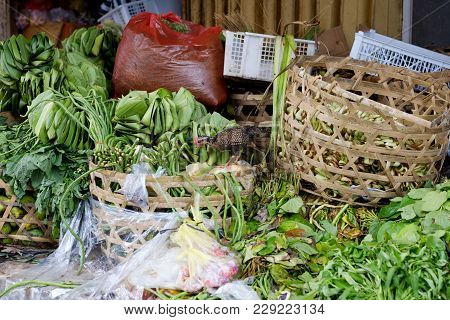 View On Vegetable Rural Local Market In Bali Indonesia. Different Organic Grocery And Small Han