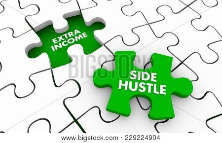 Side Hustle Extra Additional Income Puzzle Piece 3d Illustration