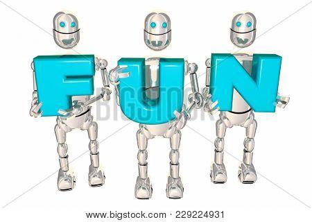 Fun Robots Holding Letters Recreation Entertainment 3d Illustration