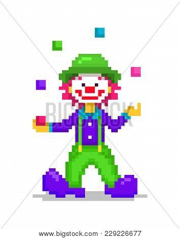 Pixel Art Illustration, Happy Smiling Clown Juggling 5 Colorful Balls Isolated On White Background.