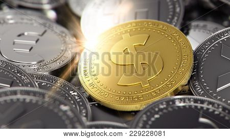 Stack Of Different Coins With Golden Dollar Coin On The Front. 3d Rendering