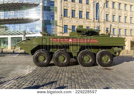 Moscow, Russia - May 09, 2017:armored Personnel Carrier Boomerang On Parade Festivities Devoted To 7