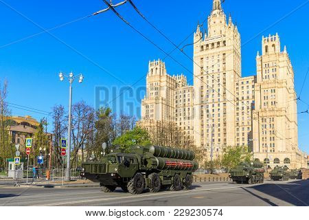 Moscow, Russia - May 09, 2017: Russian Air Defense Missile System S-300 On Parade Festivities Devote