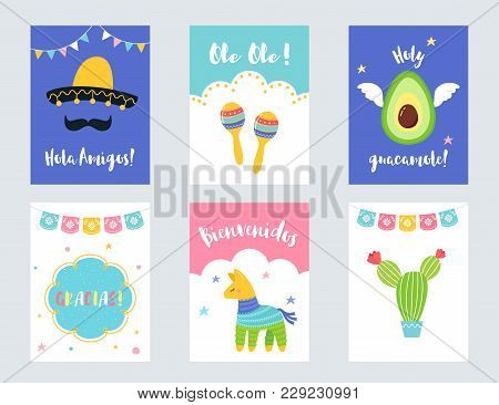 Fiesta Mexican Party Invitations And Cards Vector Set.
