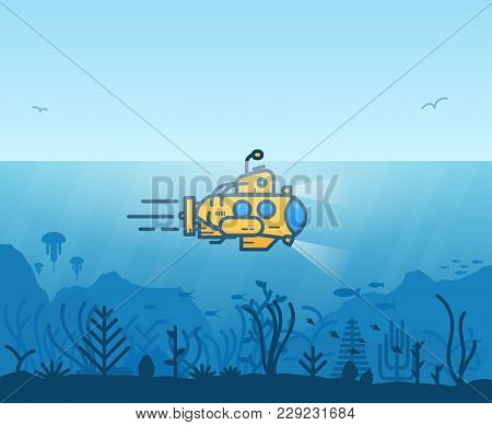Linear Yellow Submarine Swimming Under The Ocean With Periscope. Underwater Inhabitants. Underwater