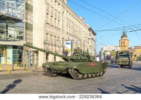Moscow, Russia - May 09, 2017: Russian Main Tank T90 On Parade Festivities Devoted To 72 Anniversary
