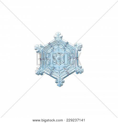 Snowflake Isolated On White Background. Macro Photo Of Real Snow Crystal: Beautiful Star Plate With