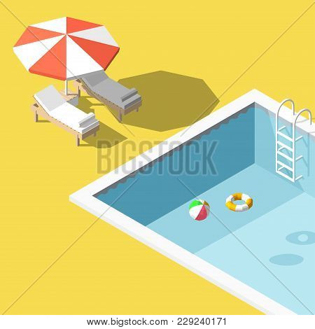 Isometric Low Poly Chaise Lounges In Swimming Pool. Vector Illustration